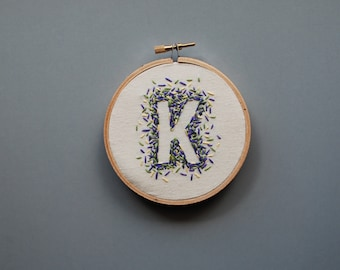 Custom Initial Embroidery Hoop Art, Gift, Nursery, New Mom, Wall Art, Baby, Child, Home Decor, Negative Space
