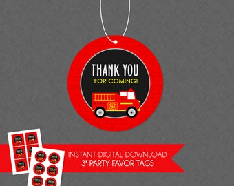 Cool Firetruck Birthday Party Thank You Favor Tag - INSTANT DOWNLOAD