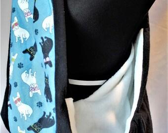 Adjustable  Black With Blue Dog Print Pet Sling, Dog Print Pet Sling Carrier, Small dog sling
