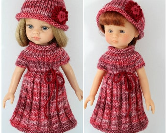 """Knitted dress and hat for Paola Reina doll (12""""/32 cm) and Corolle Les Cheries doll (13""""/33cm). Clothes for dolls."""