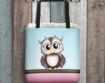 "Cute Owl Tote Bag - Pink Brown Blue - Cute Cartoon Illustration - All Over Print 15"" Tote Bag"