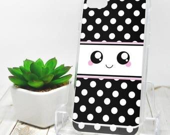 Kawaii Smile iPhone 7 Case - Black and White Polka Dot - iPhone 7 Plus Case