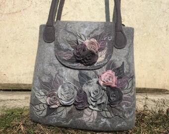 Grey bag felted bag Purse Felted bag Shoulder Bag felt handbag Bags purse roses Wet felting Roses