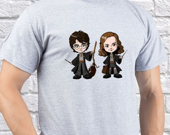 Harry Potter with Hermione Granger / Mens T-shirt/ Mens Tee/ HP Hogwarts/ Hogwarts tee/ Hogwarts tshirt/ School of Magic/ boy gift/ (HP08)