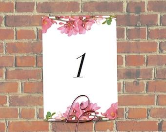 Floral Wedding Table Numbers 1- 20