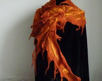 Double-sided orange felted scarf, fine merino wool