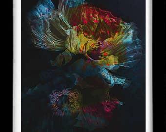 Two Blue Peonies, Sufi Art by Roya Azal