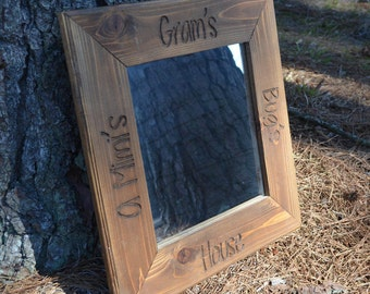 Cedar Framed Custom Engraved Mirror