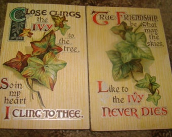 Lot of 10 Vintaqge Postcard Lot (Flowers And Ivy)