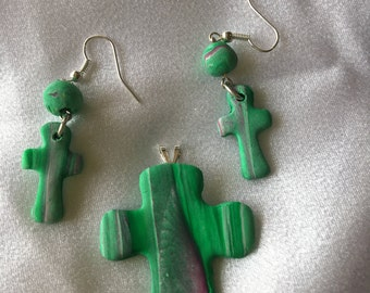 Swirled Purple and Green Polymer Clay Cross Pendant and Earrings