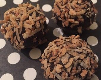 toasted coconut chocolate cake ball •one dozen