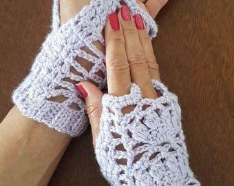 Violet Cluster Knitted Mitt Fancy Gloves