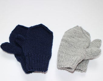 Warm blue and gray mittens