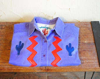 Vintage 90s Purple Wrangler Western Button Down with Cactus Embroidery - Women's Small