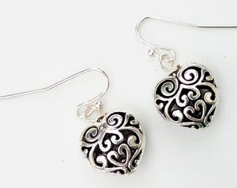Shot through the Heart - Mother's Day, earrings, hearts, silver, drops, french hooks,