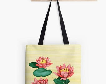 Painting water lilies art printed on light yellow fabric bag pink green - zen Lotus Flower - summer colors