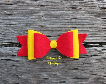 Red and Yellow Bow, Birthday Headband, Baby Hairbow, School Pride, USC, Trojan, Graduation
