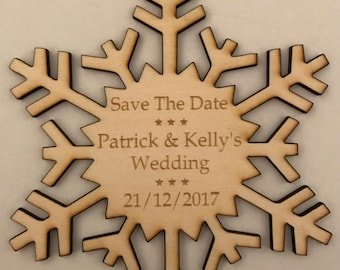 12cm Personalised Wooden Snowflakes Wedding Save The Date, Invites or Christmas