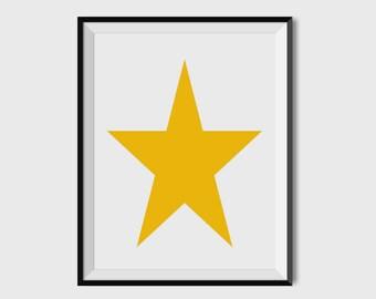 Star, Nursery Art, Nursery Wall Art, Nursery Decor, Nursery Print, Home Decor, Yellow, 8x10, 11x14