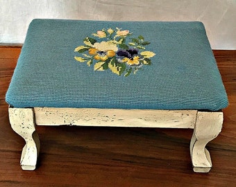 Vintage Blue and White Hand Stitched Needlepoint Stool - Blue Wool Needlepoint - Distressed White Wood - Floral Design - Shop this Bedroom