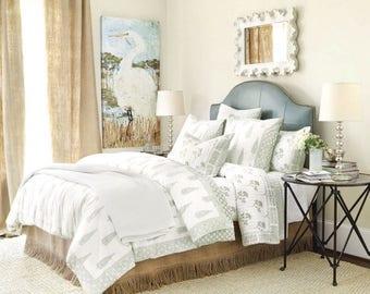 "Trim fringe burlap bed skirt,King size, 76""x80"", rustic bedroom look, natural burlap bedskirt, Choose the drop"