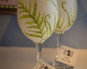 Hand Painted Wine Glasses with Fern Design