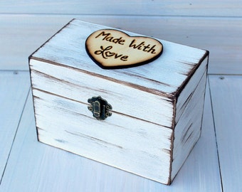 Farmhouse Recipe Box Recipe Card Storage 4x6 Painted and Distressed in the COLOR of YOUR CHOICE