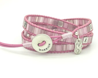 Breast Cancer Warrior Triple Wrap Bracelet Sterling Silver