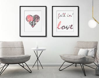 Fall Printable Set, Heart Print Set, Romantic Gift Ideas for Girlfriend, Fall In Love, Anniversary Gift Ideas for Girlfriend, Valentine Gift