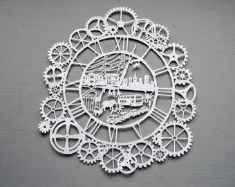 Clock Papercut, Time Cogs Art, Papercutting Gift (Zoo, City, Cars)
