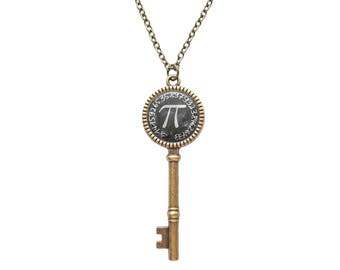 Pi Necklace, Numbers of Pi Pendant, Mathematics Math Necklace, Symbol for Pi, Math Teacher Gifts, Science Jewelry, Pi Jewelry