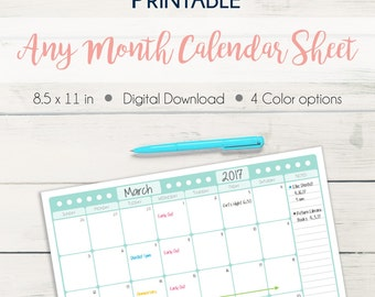 Any Month Printable Calendar Sheet