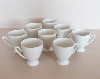 Coffee mugs, 8 porcelain coffee cups, Nespresso cups, espresso mugs, white cups