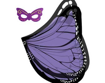 Beautiful Dreamy Dress-ups Fanciful Fabric Wings - Purple Monarch Butterfly