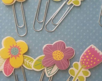 Spring Flowers 3D Paperclips/ Bookmarks - Set of 4(Clearance)