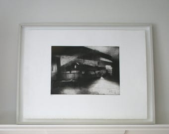 Large etching, black and white handmade etching, architectural, industrial landscape.