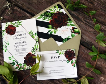 Printable Wedding Invitation Template, Affordable Cheap Wedding Invites, Floral Watercolor Invites, Marsala Floral