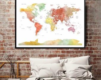 Soft Color World Map Poster Print, Custom Wall Art World Map Push Pin Travel Poster Canvas Print, Push Pin World Map, World Map Travel Print