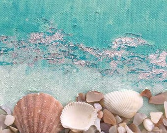 """Original Mixed Media Art """"Shimmer"""" A collective Sculptural Relief of natural shells and oil paint depicting the beauty of ocean life."""