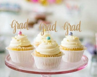 Graduation Cupcake Toppers - Set of 12 - Congrats Graduate 2017 Grad Toppers for Graduation Party, High School, College - Glitter