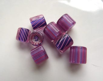 8 Striped Glass Beads - Pink Purple