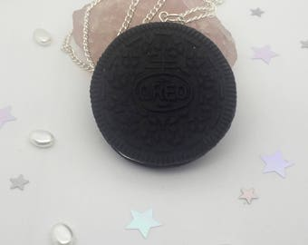 Cute Oreo Cookie pendant necklace, Polymer clay quirky realistic oreo charm, fun novelty biscuit necklace