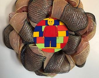 Handmade Lego Guy Wreath