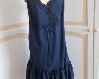 Vintage Navy Sundress siz 28 New with Label