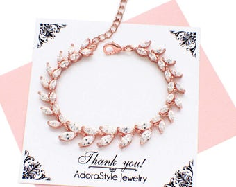 Rose gold bridesmaid bracelet, bridesmaid jewelry, rhinestone bracelet, Swarovski crystal bracelet, bridal bracelet, wedding jewelry
