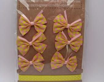 Bow and satin ribbons - pink - yellow - vichy