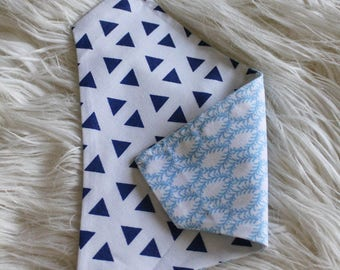 Blue and White Reversible Over the CollarBandana