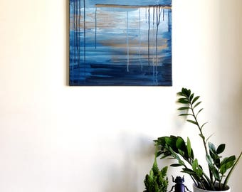Abstract painting 'Stormy' ORIGINAL, acrylic on canvas, free shipping, landscape, sea, blue, gold, muted colors, medium
