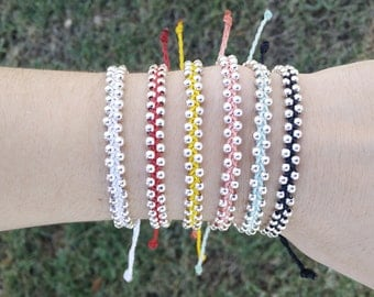 Track bead wax string bracelet - many colors available!