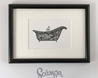 Original hand drawn, ink print illustration of a beautifully detailed Vintage Bath. Framed